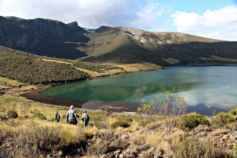 hiking to lake Alice, mt kenya