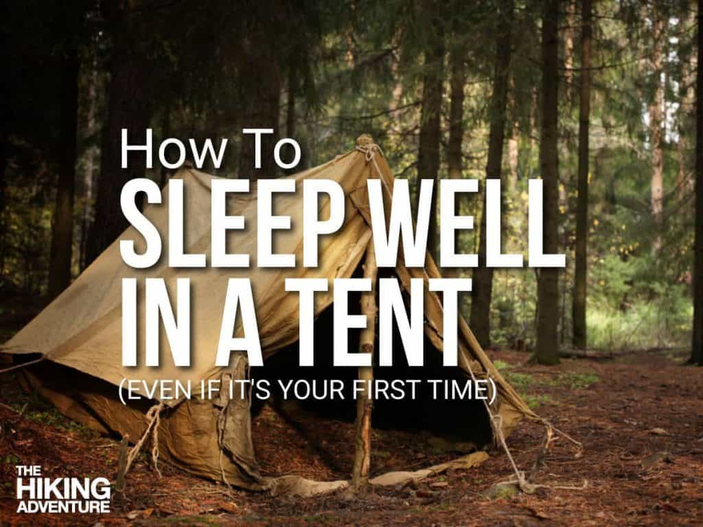 An old fashioned A-frame tent set up in a forest, the trees and soil in the background and to the center of the frame is white text.