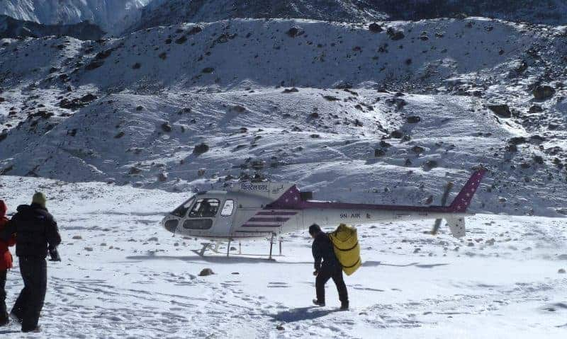 helicopter rescue at gorak shep, nepal