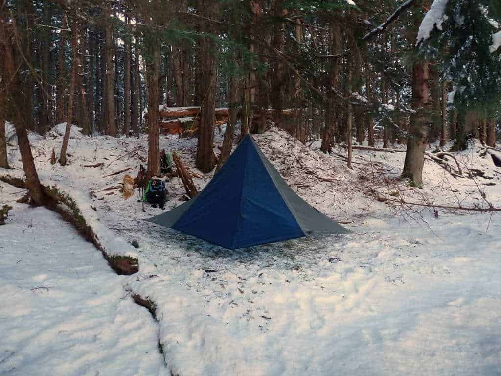 winter tarp camping has particular challenges