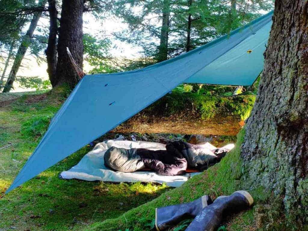 tarp camping setup