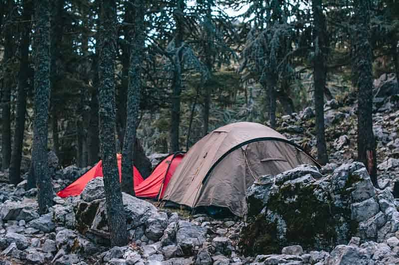 Three tents, one brown and two red, set up in a forest amongst a lot of rocks. The light is filtering through the trees.
