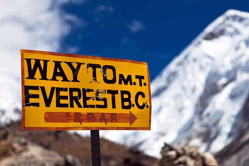 A close up horizontal image of a sign in the Himalayan mountain region.
