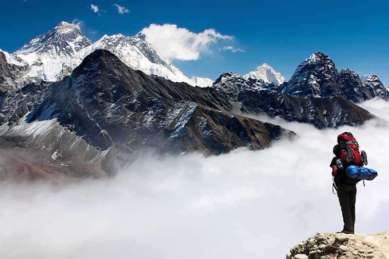 A horizontal image showing a view of Mt Everest from Gokyo.