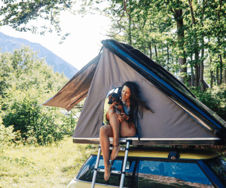 woman camping safety rooftop tent