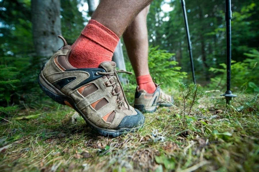 Hiking shoes and trekking pole